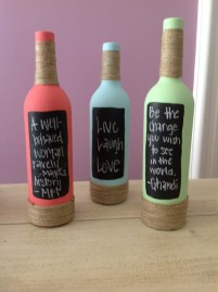 Painted wine bottles with twine, chalkboard paint